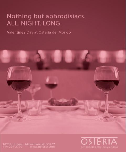 Client: Osteria del Mondo - Valentine's Day print ad